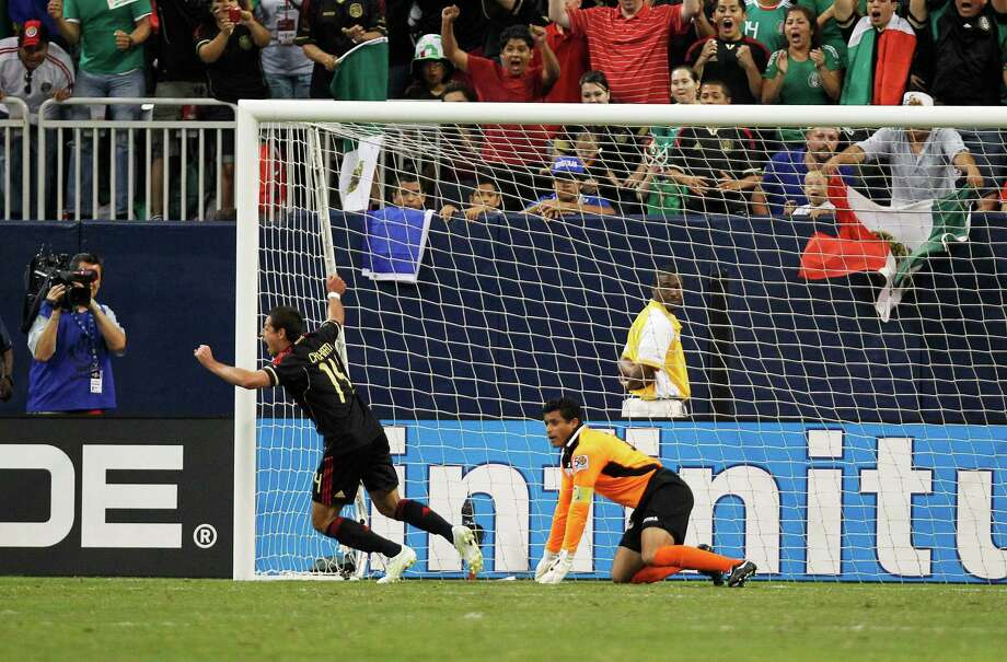 "No. 6Mexico 2, Honduras 0June 22, 2011, Reliant Stadium.Aldo De Nigris and Manchester United's Javier ""Chicharito"" Hernandez scored in overtime to send Mexico into the Gold Cup final before a record crowd of 70,627 in the nightcap of a semifinals doubleheader. Photo: James Nielsen, Houston Chronicle / © 2011 Houston Chronicle"