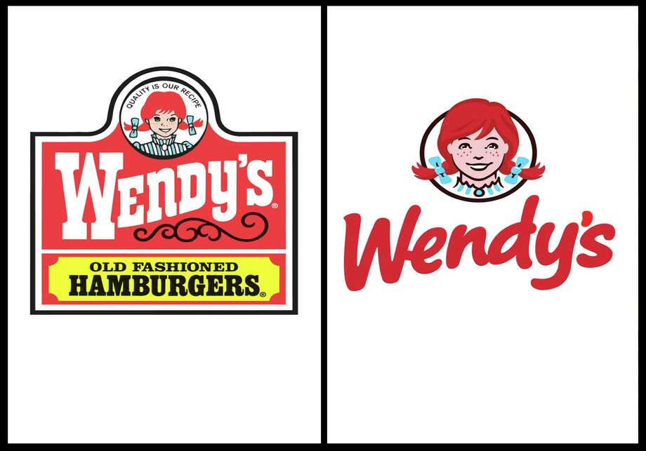 This combination of undated images provide by Wendy's show the fast food company's original logo, left, and new logo, right. For the first time since 1983, the Dublin, Ohio-based fast food company announced it is updating its logo on Thursday, Oct. 11, 2012. In a move intended to signal its ongoing transformation into a higher-end hamburger chain, instead of the boxy, old-fashioned lettering against a red-and-yellow backdrop, the pared down new look features the chain's name in a casual red font against a clean white backdrop. (AP Photo/Wendy's) Photo: Uncredited