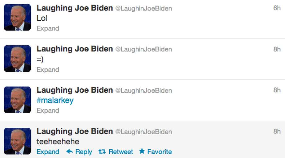 Screenshot of @LaughingJoeBiden's timeline.  (Jana Kasperkevic / Houston Chronicle)