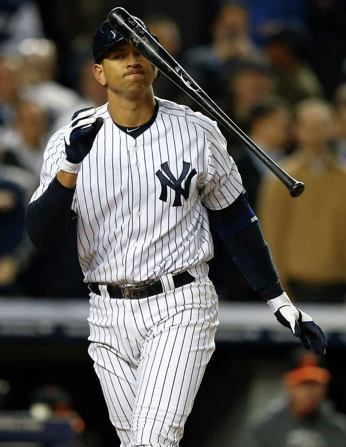 NEW YORK, NY - OCTOBER 11:  Alex Rodriguez #13 of the New York Yankees reacts after striking out  during Game Four of the American League Division Series against the Baltimore Orioles at Yankee Stadium on October 11, 2012 in the Bronx borough of New York City. Photo: Elsa, Getty Images / 2012 Getty Images