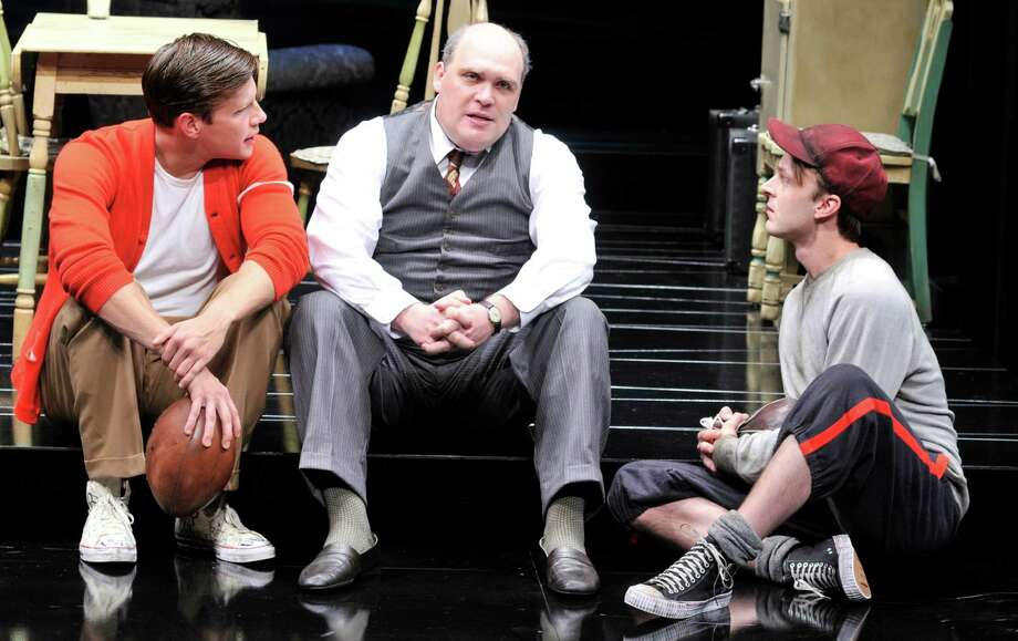 "Zachary Spicer, from left, Glenn Fleshler and Jay Sullivan star in the Alley Theatre's production of ""Death of a Salesman."" Photo: Jann Whaley."