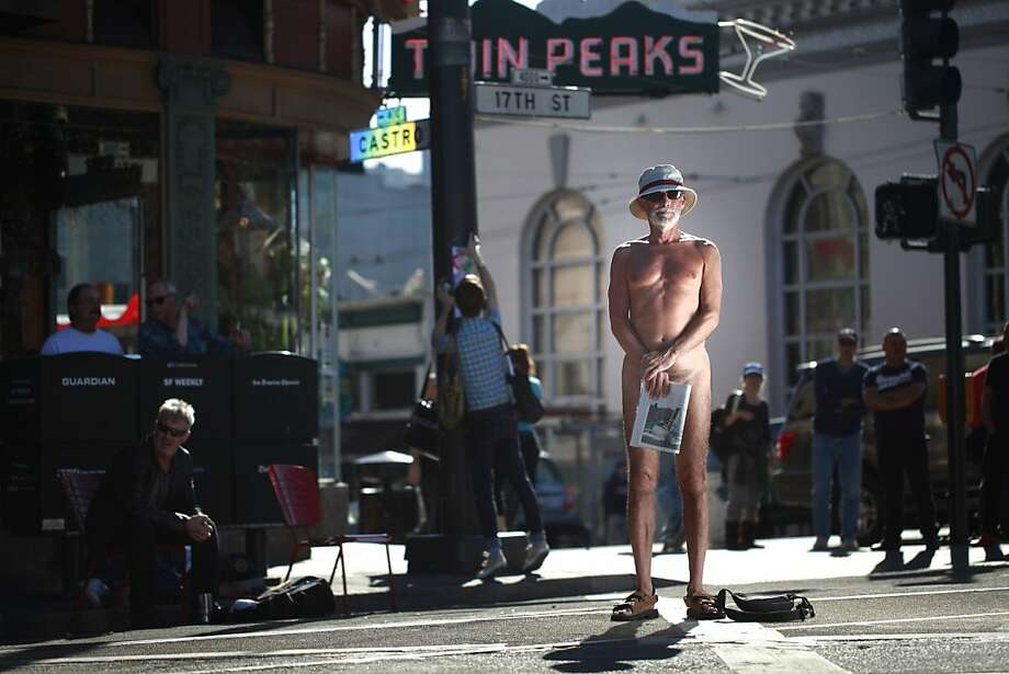 After San Francisco Supervisor Scott Wiener proposed legislation that would restrict people from showing their genitals on city sidewalks and public plazas, George Davis, of San Francisco, stands up for his beliefs at Jane Warner Plaza in the Castro on Tuesday Oct. 10, 2012 in San Francisco, Calif. Photo: Mike Kepka, The Chronicle
