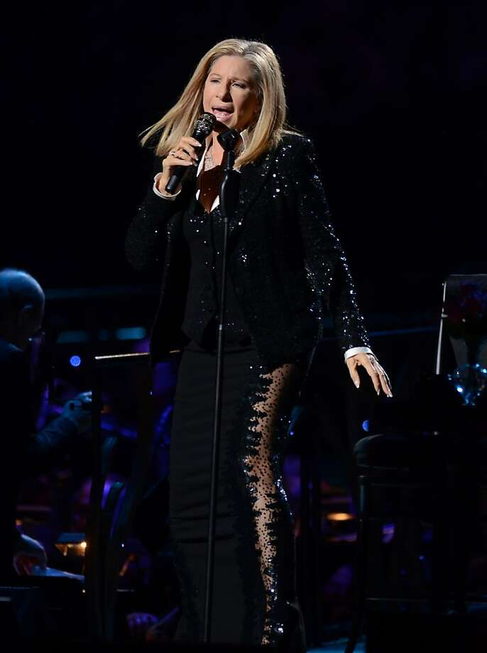 Barbra Streisand put on a three-hour concert in Brooklyn with video clips from her old neighborhood. Photo: Evan Agostini, Associated Press