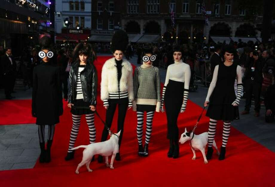 "Models pose on the red carpet during the Premiere of ""Frankenweenie"" at the opening of the BFI London Film Festival at Odeon Leicester Square on October 10, 2012 in London, England. (Eamonn McCormack / Getty Images)"