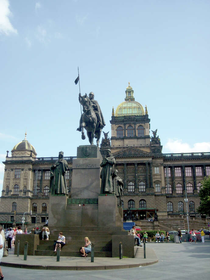 The main square in Prague's New Town Quarter, Wenceslas Square has been center-stage for much of modern Czech history—and its big equestrian statue is a can't-miss-it place to meet up with friends. Photo: Lauren Mills, Ricksteves.com