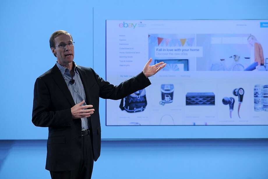 "Chief Technology Officer Mark Carges shows off eBay's redesigned website on Wednesday in New York City, with ""the feed"" of items users might like. Photo: Bryan Bedder, Getty Images For EBay"