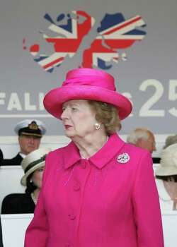Former British Prime Minister Margaret Thatcher, arrives at a Falklands War commemoration at Horseguards Parade, London, Sunday June 17, 2007. Prime Minister Tony Blair, Prince Charles and Camilla, Duchess of Cornwall, and former British Prime Minister Margaret Thatcher were amongst those who attended to mark the 25th anniversary of the 1982 Falklands conflict. (AP Photo/Ian Jones, Pool) Photo: IAN JONES / POOL DAILY TELEGRAPH