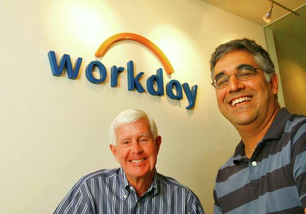 Workday co-founder Dave Duffield (left) and Aneel Bhusri, president, at their Walnut Creek office. Photo: Michael Maloney, SFC