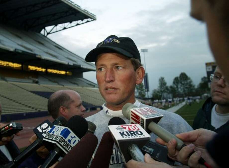 The Huskies lost just one game and won the Rose Bowl in 2000, Rick Neuheisel's second year as head coach. They had winning records and (losing) bowl appearances in each of his other three seasons. But, in 2003, he met with the San Francisco 49ers about becoming their coach, and then lied about it. That June, the NCAA accused him of gambling on the NCAA basketball tournament, which he initially denied but soon admitted. Facing penalty by the NCAA, Neuheisel refused to resign as head coach when given an ultimatum by UW Athletic Director Barbara Hedges, who fired him, and then resigned herself. Photo: Dan DeLong / Seattle P-I File