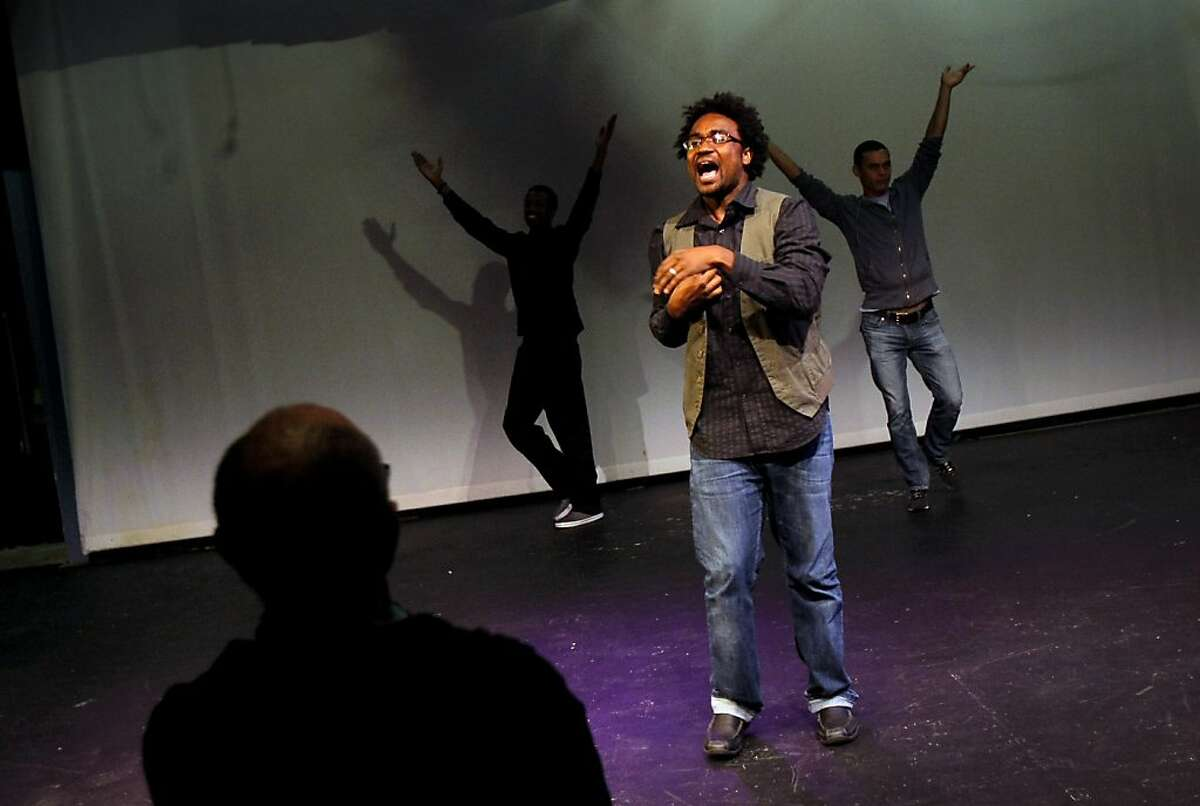"""Thandiwe Thomas DeShazor rehearses """"Fierce Love: Stories from Black Gay Life"""" at the New Conservatory Theatre Center in San Francisco, Calif., Tuesday, October 9, 2012."""