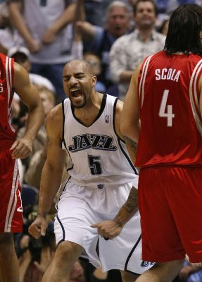 Carlos Boozer -- Became a nightmare for the Rockets in the 2007 NBA playoffs. Scored 41 points in Game 2 of the first-round series and had 35 points and 14 rebounds in the Game 7 Jazz victory. A pox on you, too, Carlos! (Nick de la Torre / Houston Chronicle)