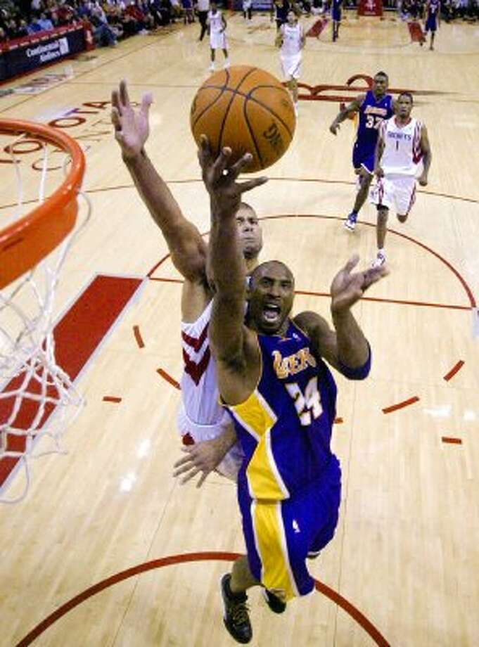 Kobe Bryant -- Kobe has helped the Lakers eliminate the Rockets three times in his career, most recently in that seven-game series in 2009, when he went off for 40 in Game 2. Yeah, you got game, Kobe. But take it somewhere else. (Billy Smith II / Houston Chronicle)