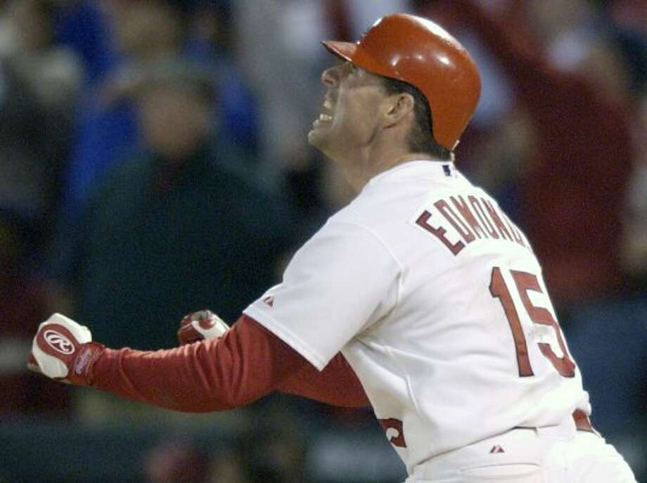 Jim Edmonds -- Mr. Churlish had some of his best years with the Cardinals. We hate the Cardinals. Ergo, we hate Jim Edmonds.  (Melissa Phillip / Houston Chronicle)