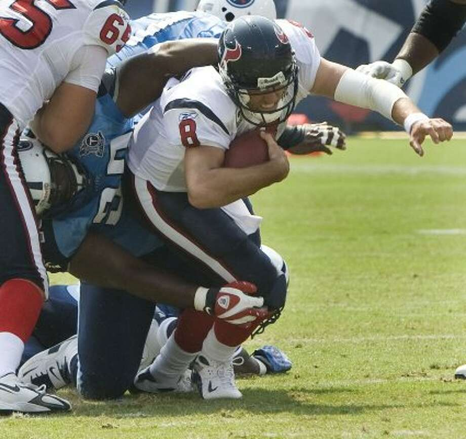 Albert Haynesworth -- Fat Albert stomped on Matt Schaub as a Titan, then did it again as a Buccaneer, ending Schaub's season. Hey, nice season this year, lard butt. (Brett Coomer / Houston Chronicle)