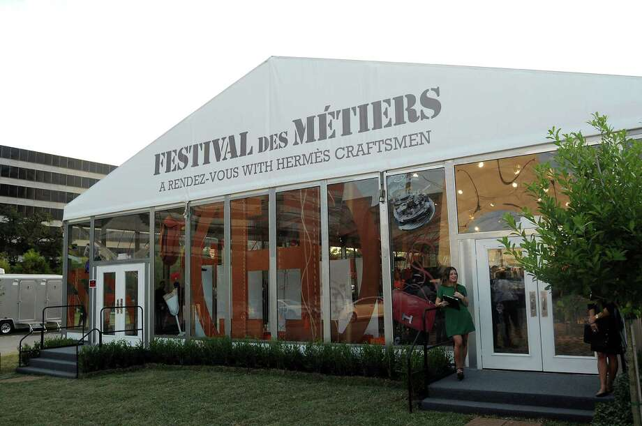 "Top, from the left: Phi Nguyen and Livi Mai. Melinda Kokkinis and Liane Harrell. Donna Nguyen and Katherine Le. Brandon  and Audrey Cochran.  Sharon Iglehart and Fran Totty. Lili Tiongson.  Above: The Festival des Métiers ""A Rendezvous with Hermès Craftsmen,"" behind the Hermès store. Photo: Dave Rossman, Freelance / © 2012 Dave Rossman"