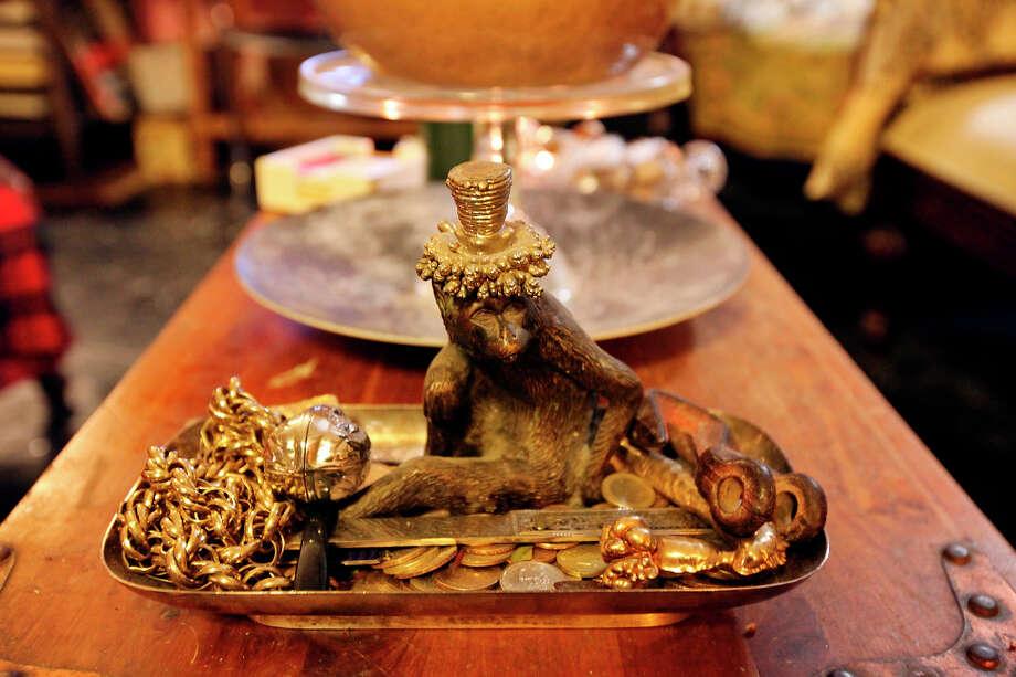 A monkey sculpture is by Daniel Saldaña. Photo: Edward A. Ornelas, San Antonio Express-News / © 2012 San Antonio Express-News