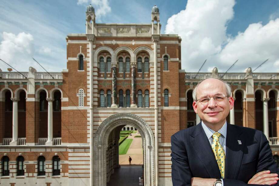 Rice University President David Leebron stands in front of Lovett Hall. The university was founded in 1912. Photo: Michael Paulsen / © 2012 Houston Chronicle