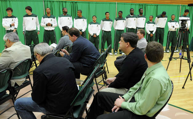 Siena basketball players line up during media day for the Siena basketball team Friday, Oct. 12, 2012 in Loudonville, N.Y.  (Lori Van Buren / Times Union) Photo: Lori Van Buren