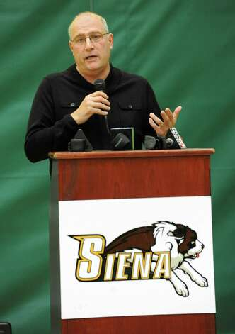 Siena head coach Mitch Buonaguro talks during media day for the Siena basketball team Friday, Oct. 12, 2012 in Loudonville, N.Y.  (Lori Van Buren / Times Union) Photo: Lori Van Buren