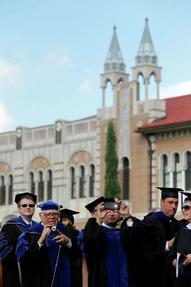 Delegates from universities across the U.S. and the world participate in Rice University's Academic Procession and Centennial Program at the Academic Quadrangle on Friday, Oct. 12, 2012, in Houston. Rice University invited over 100 delegates representing universities in the U.S. and the World. Photo: Mayra Beltran, Houston Chronicle / © 2012 Houston Chronicle