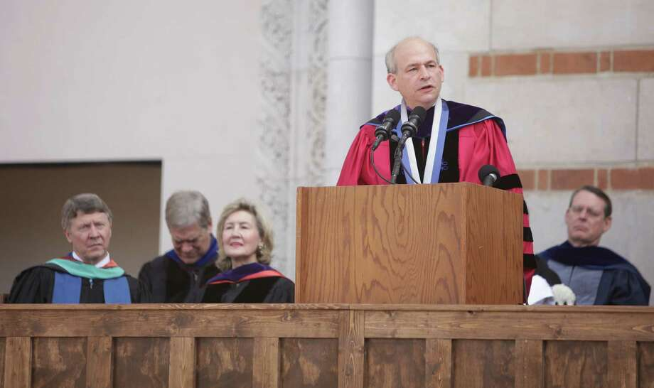 Rice University President David Leebron delivers the Centennial Address  on Friday, Oct. 12, 2012, in Houston. The Academic Procession in the Academic Quad was followed by President David Leebron's Centennial Address. The ceremony mirrored the official 1912 opening ceremony. Photo: Mayra Beltran, Houston Chronicle / © 2012 Houston Chronicle