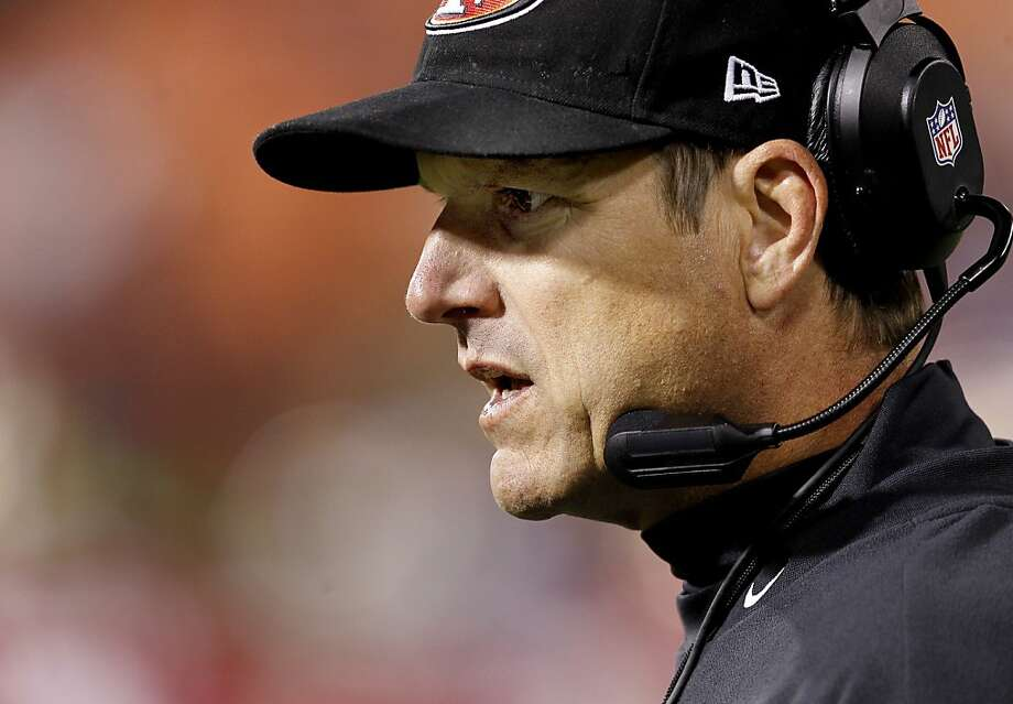 49er Head coach Jim Harbaugh watched the action from the sidelines. The San Francisco 49ers vs the San Diego Chargers in the final exhibition game Thursday August 30, 2012 at Candlestick Park in San Francisco, Calif. The 49ers won 35-3. Photo: Brant Ward, The Chronicle