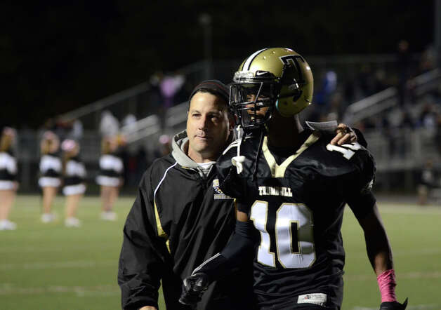 Trumbull's Mike Williams (10) walks off the field during halftime during the football game against Darien at Trumbull High School on Friday, Oct. 12, 2012. Photo: Amy Mortensen / Connecticut Post Freelance
