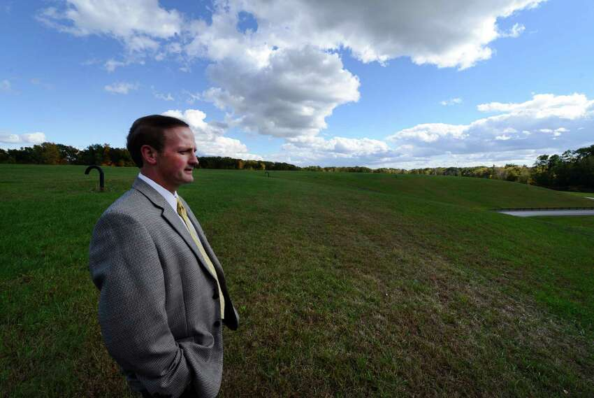 Clifton Park Town Supervisor Phil Barrett looks over the town landfill in Clifton Park, N.Y. Oct. 12, 2012. (Skip Dickstein/Times Union)