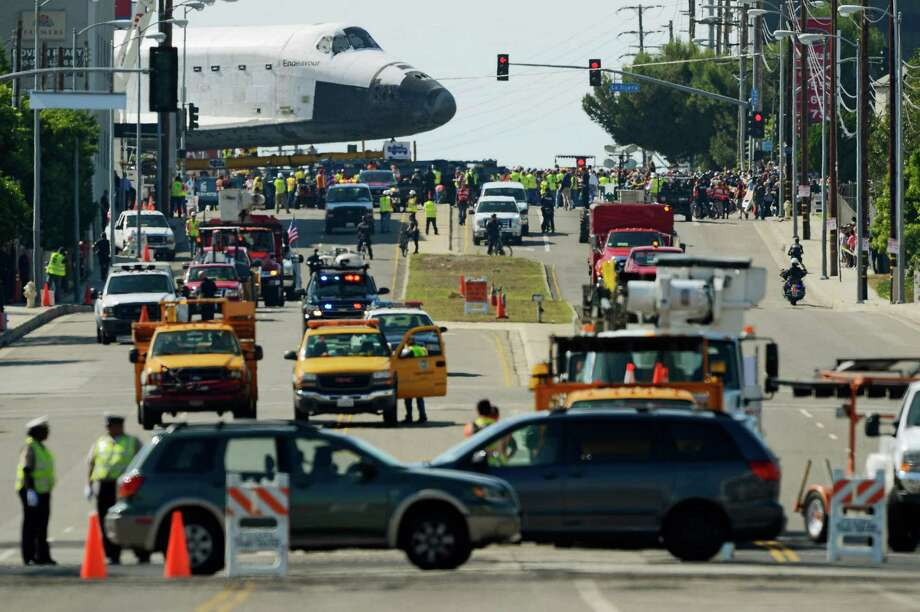 The space shuttle Endeavour is transported to the California Science Center in Exposition Park from Los Angeles International Airport (LAX) on October 12, 2012 in Los Angeles, California. Photo: Kevork Djansezian, Getty Images / 2012 Getty Images