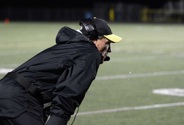 Trumbull head football coach Bob Maffei on the field during the football game against Darien at Trumbull High School on Friday, Oct. 12, 2012. Photo: Amy Mortensen / Connecticut Post Freelance