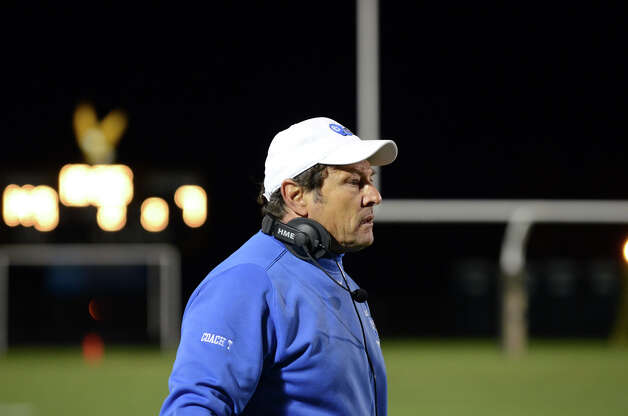 Darien head football coach Rob Trifone on the field during the football game against Trumbull at Trumbull High School on Friday, Oct. 12, 2012. Photo: Amy Mortensen / Connecticut Post Freelance