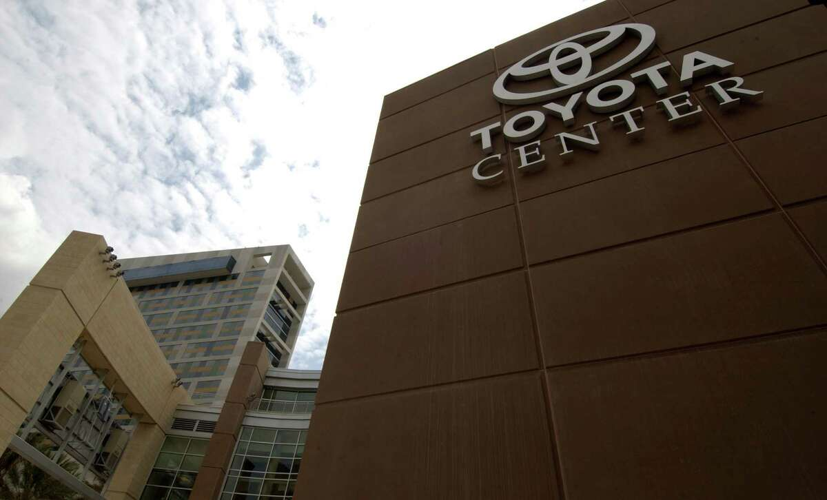 The Toyota corporate logo and name are emblazened across the front of the new downtown arena Thursday morning as officials held the ribbbon cutting ceremony for the building. 9/4/03 (Karl Stolleis/Houston Chronicle) HOUCHRON CAPTION (09/22/2003): Minority leaders remain at odds with Rockets owner Les Alexander over the Boca Raton deal that brokered the Toyota Center.