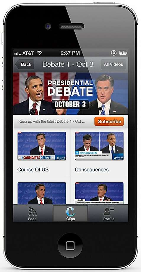 Cliptamatic app allows users to search and share real-time video clips. The presidential debates are expected to be a popular item. Photo: Cliptamatic