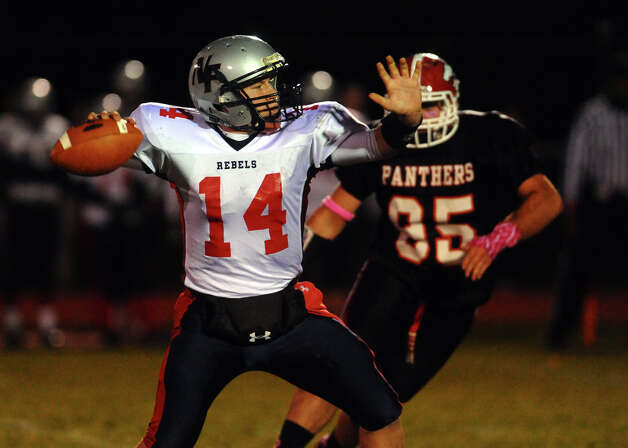 New Fairfield QB Mike Jamieson, during boys football action against Masuk in Monroe, Conn. on Friday October 12, 2012. Photo: Christian Abraham / Connecticut Post