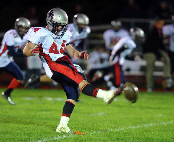 New Fairfield's #44 Nick Preble, during boys football action against Masuk in Monroe, , Conn. on Friday October 12, 2012. Photo: Christian Abraham / Connecticut Post