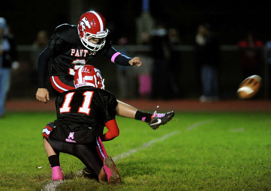 Boys football action between New Fairfield and Masuk in Monroe, , Conn. on Friday October 12, 2012. Photo: Christian Abraham / Connecticut Post