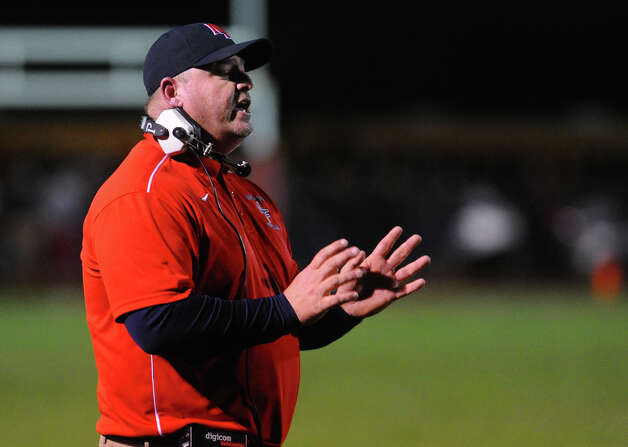 New Fairfield Head Coach Anthony Fata, during boys football action against Masuk in Monroe, Conn. on Friday October 12, 2012. Photo: Christian Abraham / Connecticut Post