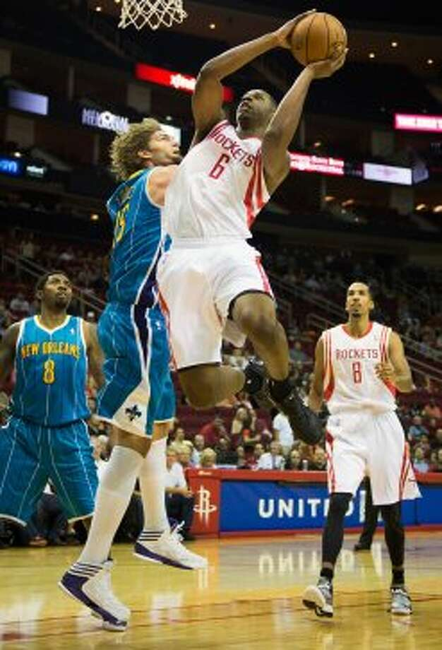 Rockets forward Terrence Jones drives the lane. (Smiley N. Pool / © 2012  Houston Chronicle)