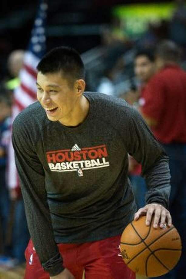 Rockets guard Jeremy Lin warms up before facing the Hornets. (Smiley N. Pool / © 2012  Houston Chronicle)