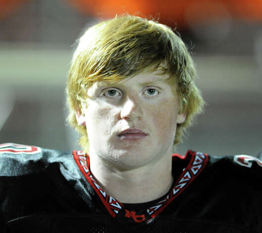 New Canaan High School football player Andrew Read during the high School football game between New Canaan High School and Norwalk High School at New Canaan, Friday night, Oct. 12, 2012. Photo: Bob Luckey / Greenwich Time