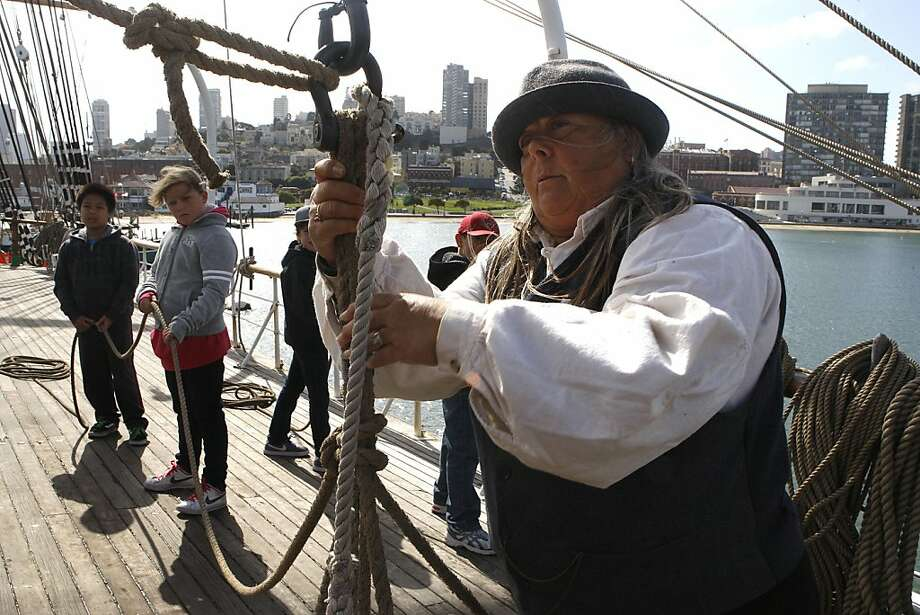 Alice Watts is a senior instructor for the Age of Sail program, which teaches kids what it was like to work on a ship in 1906. Photo: Liz Hafalia, The Chronicle