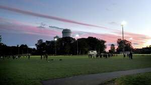 The twilight sky at New Canaan High School, Friday night, Oct. 12, 2012.