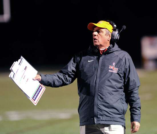 New Canaan Head Football Coach Lou Marinelli during the high School football game between New Canaan High School and Norwalk High School at New Canaan, Friday night, Oct. 12, 2012. Photo: Bob Luckey / Greenwich Time