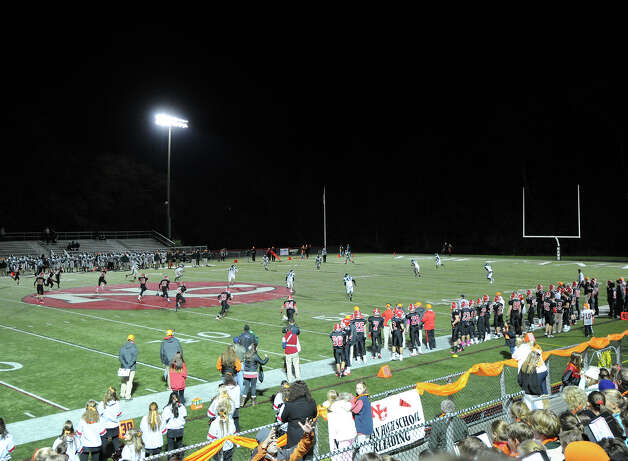 High School football game between New Canaan High School and Norwalk High School at New Canaan, Friday night, Oct. 12, 2012. Photo: Bob Luckey / Greenwich Time