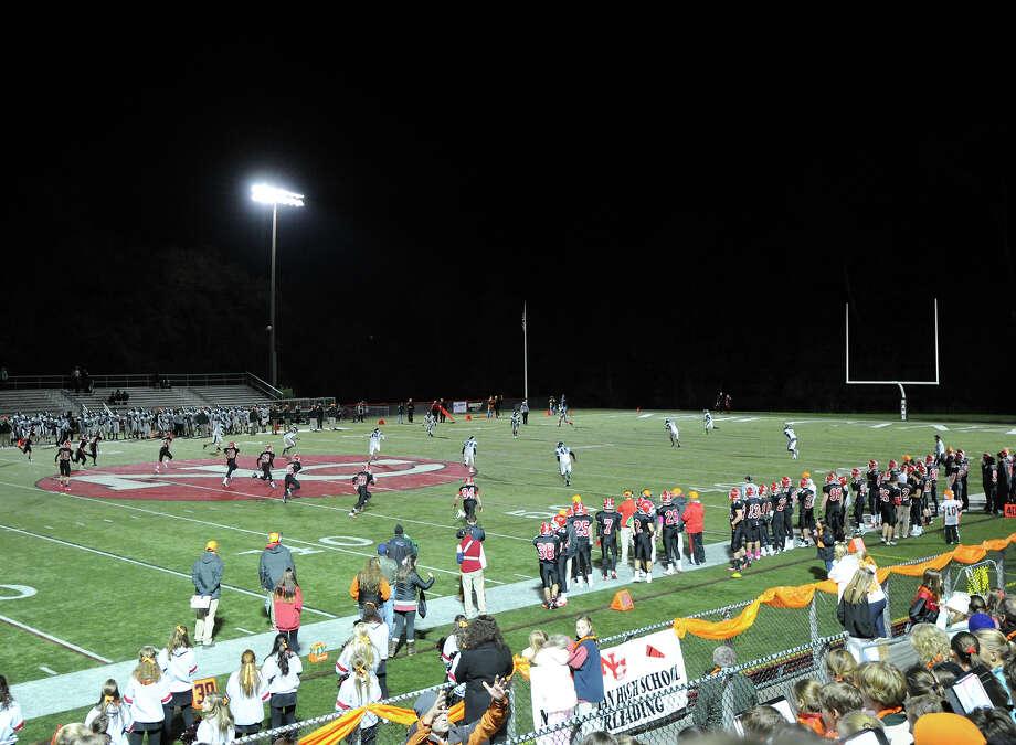 High School football game between New Canaan High School and Norwalk High School at New Canaan, Friday night, Oct. 12, 2012. Photo: Bob Luckey / Greenwich Time