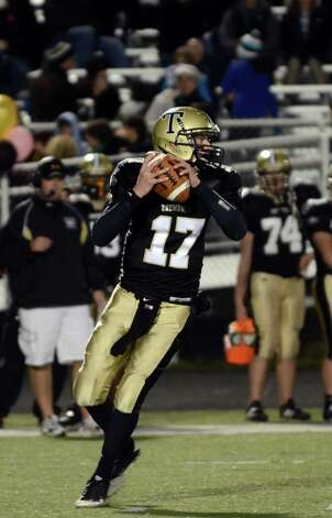 Trumbull's Nick Roberts (17) looks to pass during the football game against Darien at Trumbull High School on Friday, Oct. 12, 2012. Photo: Amy Mortensen / Connecticut Post Freelance