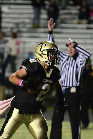 Trumbull's Ryan Pearson (2) celebrates a goal during the football game against Darien at Trumbull High School on Friday, Oct. 12, 2012. Photo: Amy Mortensen / Connecticut Post Freelance