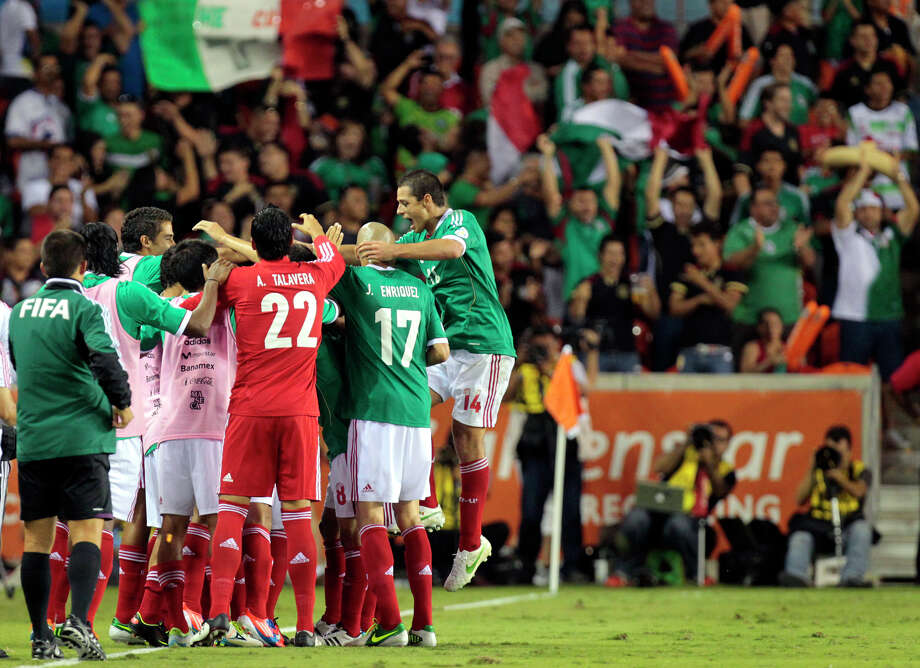 Mexico after scoring a goal during the second half of the FIFA World Cup qualifying match against Guyana at BBVA Compass Stadium Friday, Oct. 12, 2012, in Houston. Mexico won 5-0. Photo: Cody Duty, Houston Chronicle / © 2012 Houston Chronicle
