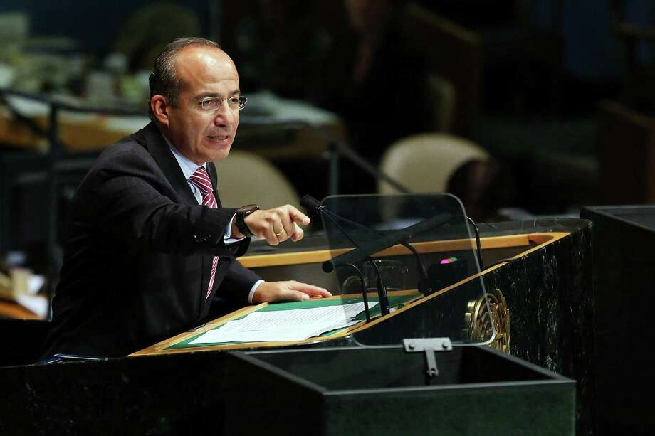 NEW YORK, NY - SEPTEMBER 26:  Mexican President Felipe Calderon, addresses world leaders at the United Nations General Assembly on September 26, 2012 in New York City. Over 120 prime ministers, presidents and monarchs are gathering this week at the U.N. for the annual meeting. This year's focus among leaders will be the ongoing fighting in Syria, which is beginning to threaten regional stability.  (Photo by Spencer Platt/Getty Images) Photo: Spencer Platt / 2012 Getty Images