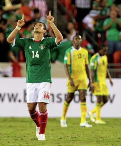 Mexico Javier Hernandez reats after scoring a goal during the second half of the FIFA World Cup qualifying match against Guyana at BBVA Compass Stadium Friday, Oct. 12, 2012, in Houston. Mexico won 5-0. Photo: Cody Duty, Houston Chronicle / © 2012 Houston Chronicle